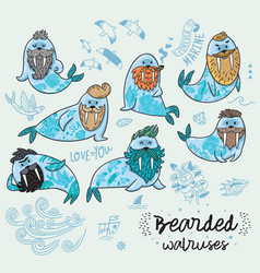 Hipster walruses with beards and tattoos in vector