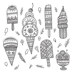 Icecream set drawn in ethnic boho style vector