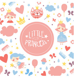 little mums princess banner template baby girl vector image