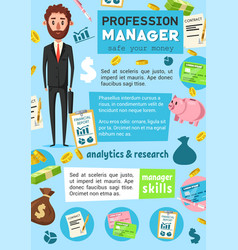 manager profession business or finance occupation vector image