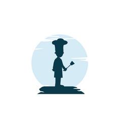 Master chef silhouette theme logo vector