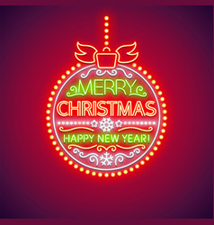 Merry christmas red ball neon sign vector