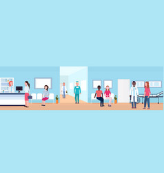 mix race patients and doctors in hospital waiting vector image