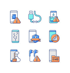 Mobile phone technical issues rgb color icons set vector