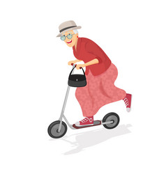 Old woman on scooter old progressive woman vector