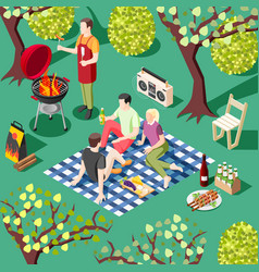 outdoor bbq isometric background vector image