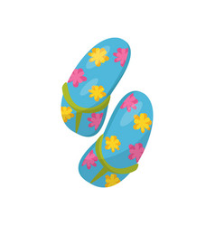 pair of blue flip flops with flowers vector image