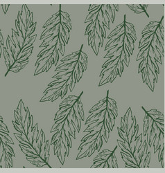 pastel seamless pattern with hand drawn leaves vector image