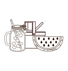 Picnic basket with refreshing drink for summer vector