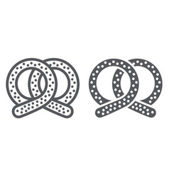 pretzel line and glyph icon bakery and food vector image