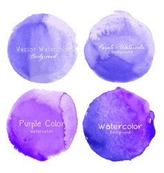 Purple watercolor circle set on white background vector