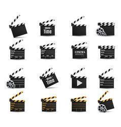 Realistic clappercinemaboard on a white vector