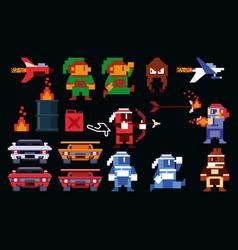 Retro videogame arcade collection vector