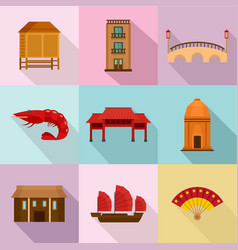 rome place icons set flat style vector image