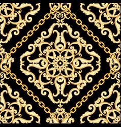 Seamless damask pattern golden beige on black vector