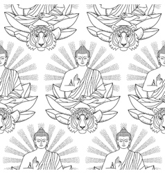 Seamless Pattern of Buddha Lotus light and Tiger vector