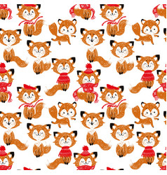 seamless pattern with cute foxes in scarf and hat vector image