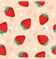 seamless pattern with strawberries leaves vector image