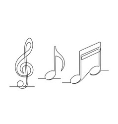 Set continuous one line drawing a musical vector