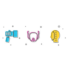 Set flashlight diving mask and hood icon vector