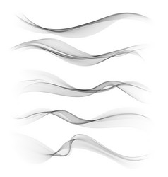 set gray abstract wave design element vector image