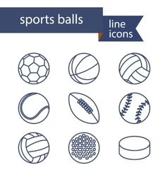 Set of line icons of sport balls vector image