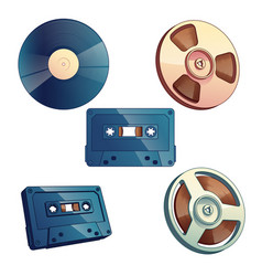 set retro media storage for music and sound vector image