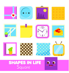 Shapes in life square learning cards for kids vector