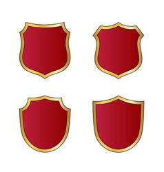shield gold red icons set shape emblem vector image