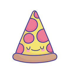 slice pizza pepperoni cartoon food cute flat style vector image