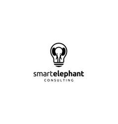 smart elephant consulting logo design concept vector image