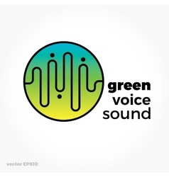 Sound voice planet green wave symbol logo vector image