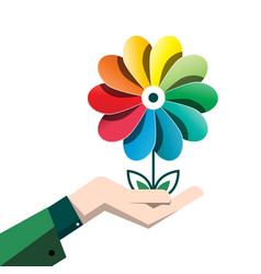 spring colorful flower in human hand isolated on vector image