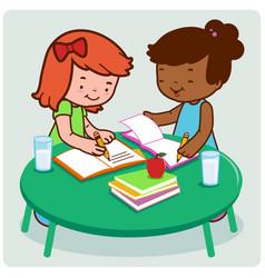 Students doing their homework vector