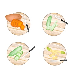Sweet Potatoes Cucumber Baby Corns vector
