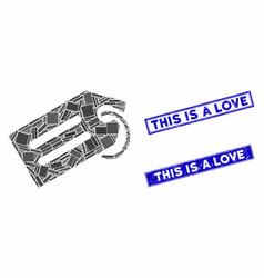 Tag mosaic and grunge rectangle this is a love vector