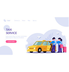 the taxi driver helps girl with luggage vector image