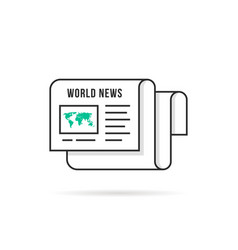 thin line world news logo like newspaper vector image