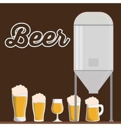 Traditional brewing with differents beer glasses vector
