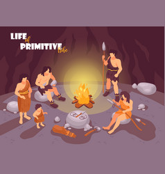 tribe in cave background vector image