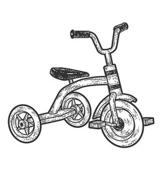Tricycle children bicycle sketch scratch board vector