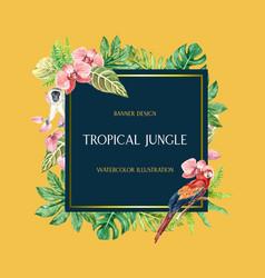 Tropical frame border design summer with plants vector