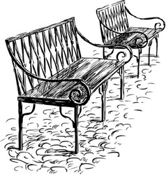 two benches vector image