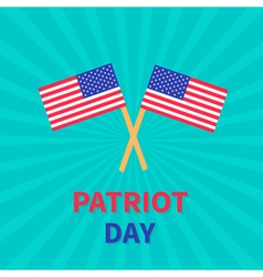 Two flags Patriot day Card Sunburst background vector image