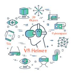 virtual reality concept - vr helmet vector image