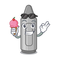 With ice cream gray crayon above character wooden vector