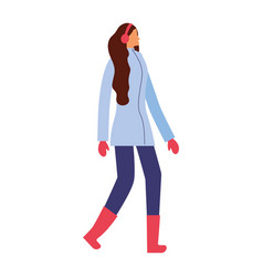 woman standing with winter clothes vector image
