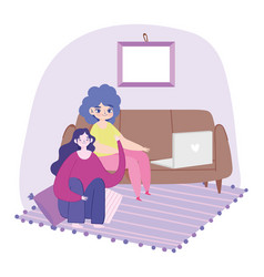 working remotely young women with laptop on sofa vector image