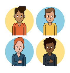 young people cartoon icons vector image