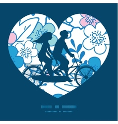 blue and pink kimono blossoms couple on vector image vector image